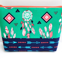 Arrow Makeup bag, green dream catchers, feathers makeup bag, bright green bag, travel toiletry tote, coral navy and green, cosmetic bag