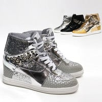 Womens Shiny Studded Wedge Sneakers Heel Sparkle / Lady High Top Ankle Boots