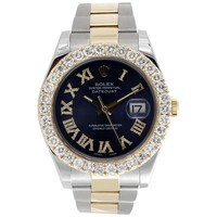 Mens 41mm 116333 Rolex DateJust II Two Tone Diamond Watch Blue Roman Dial 6 CT.