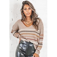 Day Dreaming Mocha Striped Sweater