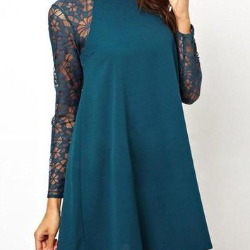 Green Long Sleeve Lace Mini Dress
