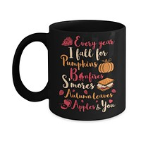 Every Year I Fall For Pumpkins Bonfires S'mores Autumn Mug