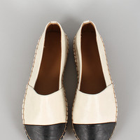 Dollhouse Two-Tone Leatherette Espadrille Skimmer Loafer Flat