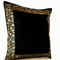 Decorative Throw Pillows - Black cushion with gold sequin boarder - sequin pillow -16X16- Black pillow - gift pillow- Black gold cushion