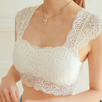 Fashion Women's Sexy Casual Lace Crop Boob Tube Top Bandeau Short Tanks Seamless Solid Black White 63