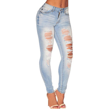 Light Denim Ripped Skinny Jeans LAVELIQ