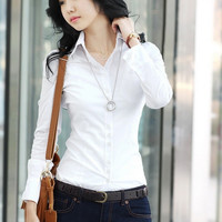 Free Shipping 2014 Polo Clothing Fashion Formal White Thin Straight Long sleeve Shirt Women's Spring and Autumn Blouse CS4246