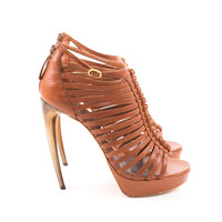 Brown Leather Strappy Heels with Resin Heel size:8
