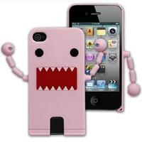 Cute Domo Kun Shape Hard Plastic Case For iPhone 4S / 4 - Pink ( With Movable Hands)