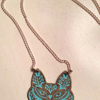 Turquoise wolf necklace by SouthernnShimmer on Etsy