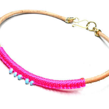 Leather Friendship Bracelets hot neon pink knotted by zurdokero