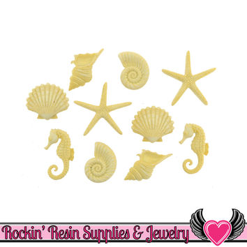 Jesse James Buttons 10 pc BEACH BEAUTIES Seashell, Starfish, & Seahorse Buttons