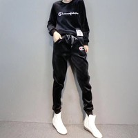 """""""Champion"""" Women Casual Fashion Velvet Embroidery Letter Long Sleeve Hoodie Trousers Set Two-Piece Sportswear"""