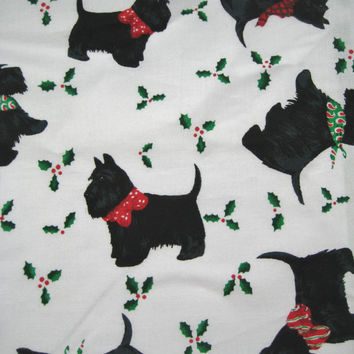 Daisy Kingdom Christmas Fabric By The QUARTER Yard Scottie Dog Fabric Scottish Terrier Fabric Christmas Tossed Scottie With Holly NEW