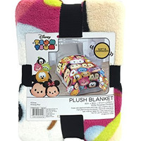 "Disney Tsum Tsum ""Faces"" Flannel Plush with Silk Touch Reverse 62"" x 90"" Twin Blanket"