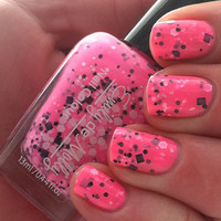 "Nail polish - ""Flurocious"" black and white glitter in a neon pink base"