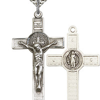 St. Benedict Crucifix Necklace - Sterling Silver - 87156)