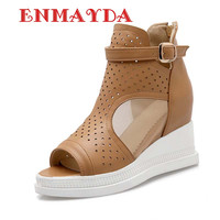 Cut-Outs Ankle Boots Summer Women Boots Shoes Sandals Summer Buckle High Heel Peep Toe Platform Big Size34-43 Casual Ankle Boots