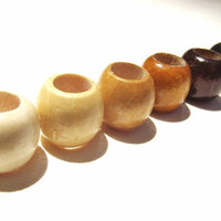 Small Dread Beads Set - Six 6mm Hole Wooden Dread Beads in Neutral Colors - Bone Brown and Black