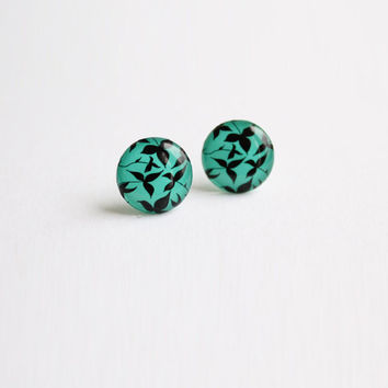 12,5 mm small stud earrings, small studs,  turquoise studs, black and turquoise, turquoise posts, leaves, leaf, nature