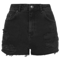MOTO Black Ripped Mom Shorts - Washed Black