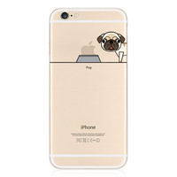 For iPhone 6 6S Plus Case 5.5 Inch Transparent TPU Gel Pug Snap-On Protective Case Cover