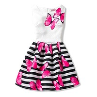 Princess Girl Costume For Kids Clothes Teenage Girl Floral Printed Party Dresses Children Girls Clothing School Wear 6 8 10 12T