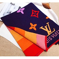 Bunchsun LV  Louis vuitton fashion casual lovers two-sided spell color printed letter scarf shawl silk scarf