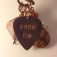 Rock on hand stamped necklace guitar pick bronze statement