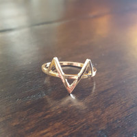 Gold plated three triangles delicate ring Dainty jewelry small beautiful rings