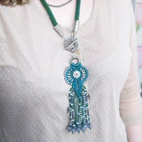Bead crochet necklace, macrame pendant - Emerald Sea Green Gray Unique Beadwork