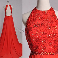 Long Red beaded Evening Dresses,Backless Prom Dresses 2015,Ball Grown Party Dresses,Homecoming Dresses,Bridesmaid Dresses