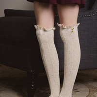 Ruffled Lace Trim Socks-Over the Knee. Ivory and Black in Stock.