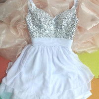 White Sequined Short Homecoming Dress