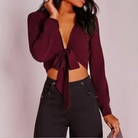 Strappy High Waist Solid Color Long-Sleeved Shirt