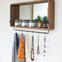 Framed Mirror with Coat Hooks
