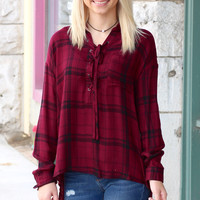Tie Me Up Plaid Blouse {Burgundy}