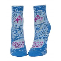 Magic Is Totally Real Women's Ankle Socks in Blue
