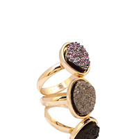 FOREVER 21 Faux Geode Ring Set Gold/Multi