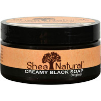 Shea Natural African Black Soap - Creamy - With Shea Butter - 8 Oz