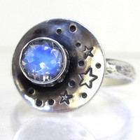"""Rainbow Moonstone Ring Sterling Silver """"Our Love is Written in the Stars"""""""