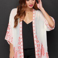 Far Away Lands Cream and Orange Embroidered Kimono Top