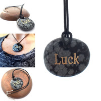 Inspirational Necklace / Good Luck Necklace / Luck Engraving, Inspirational Gift, Snowflake Obsidian Stone, Chunky Pendant Hippy Jewelry