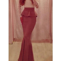 Beautiful Long Sleeve Lace Patchwork Maxi Dress With Bowtie