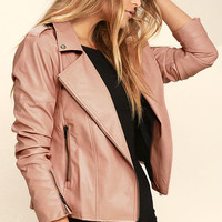 Mink Pink Deputy Pink Vegan Leather Moto Jacket