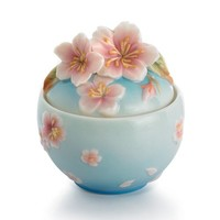 Franz Porcelain Cherry Blossom Sugar Jar