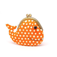 Cute sunset orange whale clutch purse by misala on Etsy