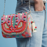 Pink Divya Beaded Clutch