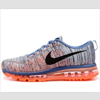 NIKE air cushion flying line woven rainbow casual shoes sports shoes Orange-blue