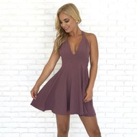 Sweet Bliss Halter Dress in Plum